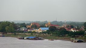 River bank, mekong  , cambodia, southeast asia. Southeast asia , Cambodia, mekong, Kampong cham, november 2013.  View of  river bank of Kampong Cham town from stock footage