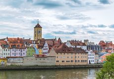 River bank in Regensburg Royalty Free Stock Photography