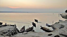 Padma. River Bank Of Padma Life of Boat Royalty Free Stock Photo