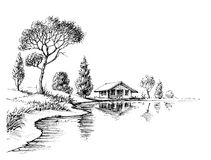 River bank panorama. Nature artistic sketch, relaxation and meditation background Stock Images