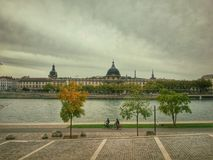 The river bank park of the river rhone, Lyon old town, France Stock Photography