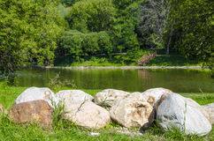 River bank. The stone on the river Bank Stock Photography