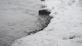 River bank in winter. Winter landscape. River bank covered with snow stock video