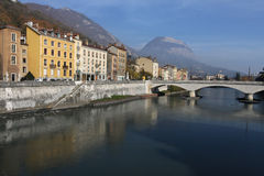 River banks in Grenoble Stock Images