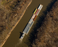 River barge. Aerial view of river barge during autumn Stock Photography
