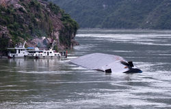 River Barge Accident, Yangtze River, China Travel Stock Image