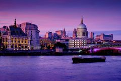 London, UK. 22nd May 2017. St Pauls cathedral and the city of London financial district enjoy a vivid sunset Royalty Free Stock Photography