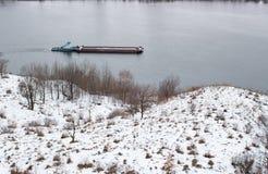 River barge winter. Nizhny Novgorod, Russia Royalty Free Stock Photos