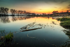 River bay during sunset. River bay in Gorzow Wielkopolski, Poland during sunset. Beautiful landscape Royalty Free Stock Photography
