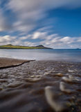 River at the beach. After a heavy downpour little rivers appear at the Dingle beaches royalty free stock images