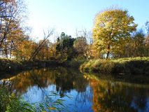 River and beautiful autumn trees, Lithuania stock photography