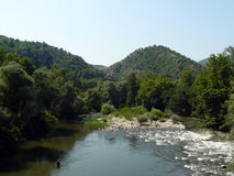 River in beautiful landscape. River running through beautiful forested landscape Stock Photos