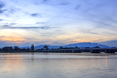 River and the beautiful sky. At sunset Royalty Free Stock Image
