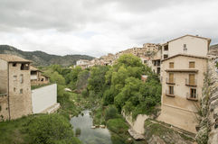 The river and Beceite. In Teruel, Aragon, Spain Stock Photography