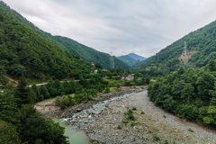 The river bed in the mountains of Georgia near Batumi royalty free stock photos