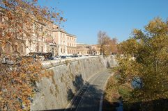 The river bed of the Tiber in Rome, Italy. royalty free stock photos