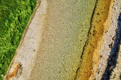 River bed view. Top view with use of a drone of a river bed Stock Photos