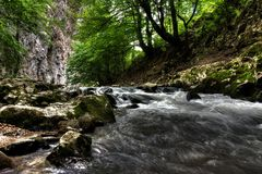 River Bed. Water flowing in river bed, Bigar Waterfall, Romania Stock Photo
