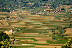 River Bednja valley, Zagorje, Croatia. River Bednja valley aerial view with castle Bela and golden fields, Zagorje, Croatia Stock Photography