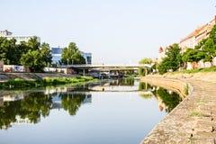 River Begej in Zrenjanin, Vojvodina. Concrete riverbed of river Begej near down town in city Zrenjanin Royalty Free Stock Images