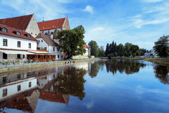River behind the Church in Ceske Budejovice Royalty Free Stock Photography