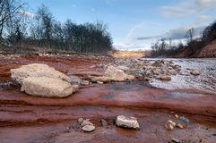 River Belyaya in Caucasus. With the amazing Red Beach Stock Image