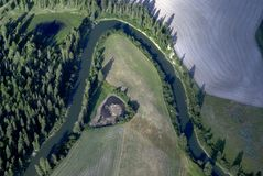River bend from above. Aerial view of a river bend in western Montana USA Stock Image