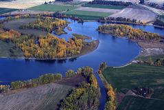 River bend in the Fall. Aerial view of river bend with Fall colors Stock Image
