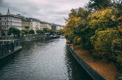 River bend in Prague oldtown on rainy day. Vltava River bend in Prague oldtown Royalty Free Stock Photography