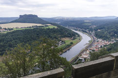 River bend in sechische schweiz. This is a river bend located in sechische schweiz in Germany Stock Photo
