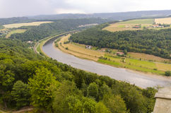 River bend in sechische schweiz. This is a river bend located in sechische schweiz in Germany Royalty Free Stock Photos