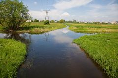 River bifurcation. Welna and Nielba river bifurcation in Wagrowiec, Poland royalty free stock photo