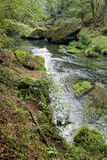 River with big stones in the green valley Stock Photography
