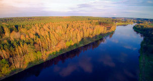 River from bird's flight. River Neris from bird's flight, blue river and soft sunset light, spring time Royalty Free Stock Images