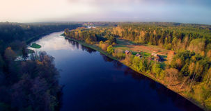 River from bird's flight. River Neris from bird's flight, blue river and soft sunset light, spring time Stock Image