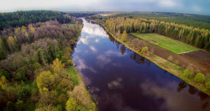 River from bird's flight. River Neris from bird's flight, blue river and soft sunset light, spring time Stock Images