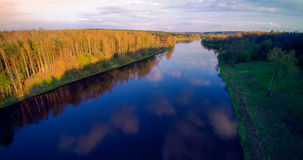 River from bird's flight. River Neris from bird's flight, blue river and soft sunset light, spring time Stock Photo
