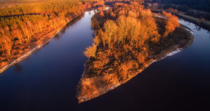 River from bird's view. River Neris aerial view at sunset light, Lithuania Royalty Free Stock Photos