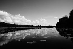 River.  Black and white photo. Royalty Free Stock Images