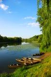 River and  blue sky Stock Photos
