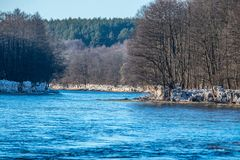 Early spring in Lithuania, Neris river flowing Stock Photos