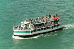 RIver boat. With weekend vacationers near Detroit Stock Photo