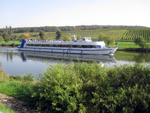River boat. On river mossel Luxembourg giving passenger cruises Stock Photo