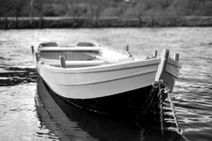 River Boat. Photographed on the River Tummel. Black and white and shot on a Low ISO Stock Image