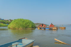 River. Boat, grass field, river in thailand Royalty Free Stock Photography