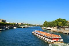 River boat in Paris capital and the most populous city of France. Paris capital and the most populous city of France and seine river royalty free stock photo