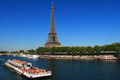 River boat in Paris capital and the most populous city of France. Paris capital and the most populous city of France and seine river royalty free stock photography
