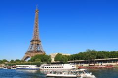 River boat in Paris capital and the most populous city of France. Paris capital and the most populous city of France and seine river stock images