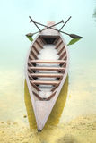 River boat. A river boat parked at the shore line, with oars Royalty Free Stock Image