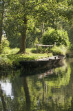 River boat at Spreewald. A biosphere reserve in Germany stock photography